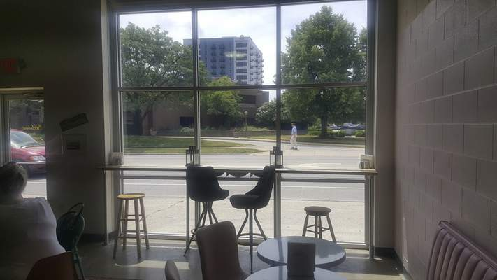 A little counter allows diners to peer out at the the Main Street traffic at Lindi's on Main Street.