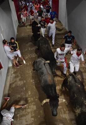 Revellers run next to fighting bulls during the running of the bulls at the San Fermin Festival, in Pamplona, northern Spain, Sunday, July 14, 2019. (AP Photo/Alvaro Barrientos)