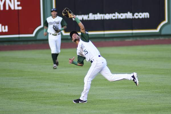 Mike Moore | The Journal Gazette TinCaps second baseman Tucupita Marcano catches a pop fly in the fifth inning against Peoria at Parkview Field on Wednesday.
