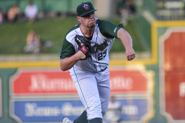 Mike Moore | The Journal Gazette TinCaps pitcher Ryan Weathers pitches in the fifth inning against Peoria at Parkview Field on Wednesday.