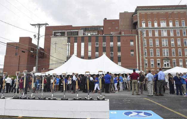 Lutheran Health Network broke ground Wednesday afternoon for its new hospital at Van Buren and Main streets. (Michelle Davies | The Journal Gazette)