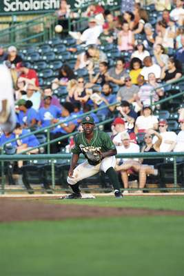 Katie Fyfe | The Journal Gazette TinCaps' Lee Solomon prepares to catch the ball at second base during the fourth inning against the Chiefs at Parkview Field on Thursday.