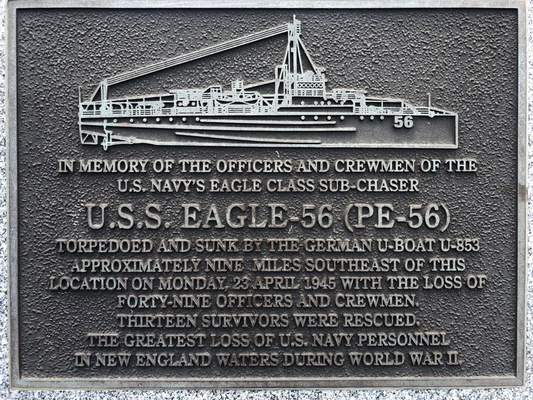 A plaque at Fort Williams Park at Cape Elizabeth, Maine, on Thursday, July 18, 2019, remembers those killed when the USS Eagle PE-56 was sunk During World War II off the Maine coast on April 23, 1945. (AP Photo/David Sharp)