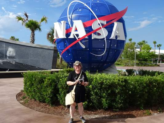 This 2015 photo provided by June Dorricott of Brisbane, Australia, shows her during a visit to the Kennedy Space Center in Florida. (Courtesy June Dorricott via AP)