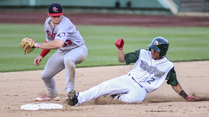 Mike Moore | The Journal Gazette  TinCaps center fielder Jawuan Harris slides into second base in the fourth inningof Fort Wayne's 6-2 win over Peoria on Wednesday. Harris was called out, though replay seemed to indicate he was safe.