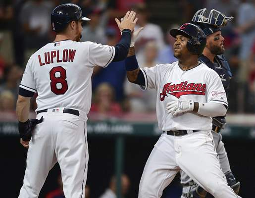 Associated Press The Indians' Jose Ramirez is congratulated by Jordan Luplow after hitting a two-run home run Thursday in Cleveland.