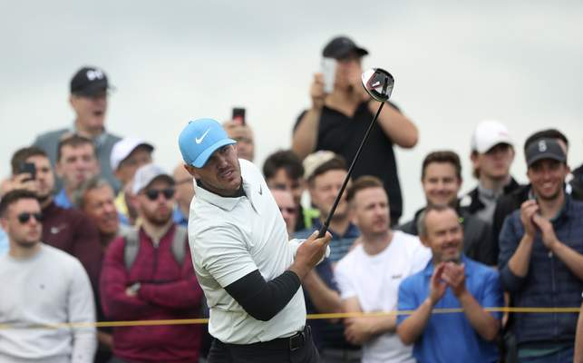Brooks Koepka of the United States reacts to his shot off the 7th tee during the second round of the British Open Golf Championships at Royal Portrush in Northern Ireland, Friday, July 19, 2019.(AP Photo/Jon Super)