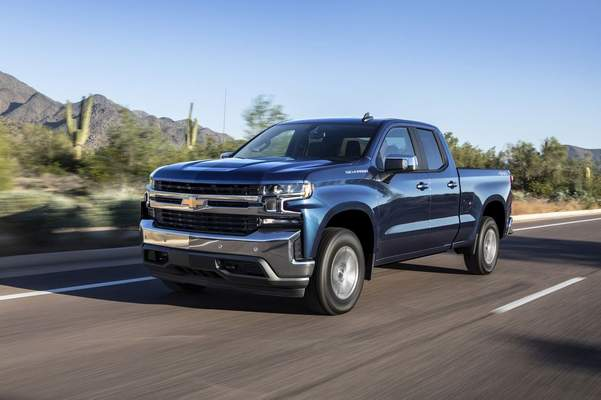 Courtesy GM: Cloth seats are standard on the 2019 Chevrolet Silverado, but reviewer Casey Williams said his truck sported heated leather seats and a leather-wrapped steering wheel.