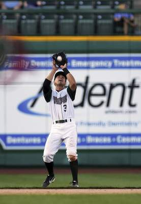 Katie Fyfe | The Journal Gazette TinCaps' Ethan Skender catches the ball during the fifth inning against the Cedar Rapids Kernels at Parkview Field on Saturday.