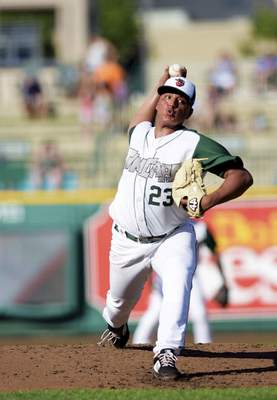 Katie Fyfe | The Journal Gazette TinCaps' Efrain Contreras pitches the ball during the second inning against the Cedar Rapids Kernels at Parkview Field on Saturday.