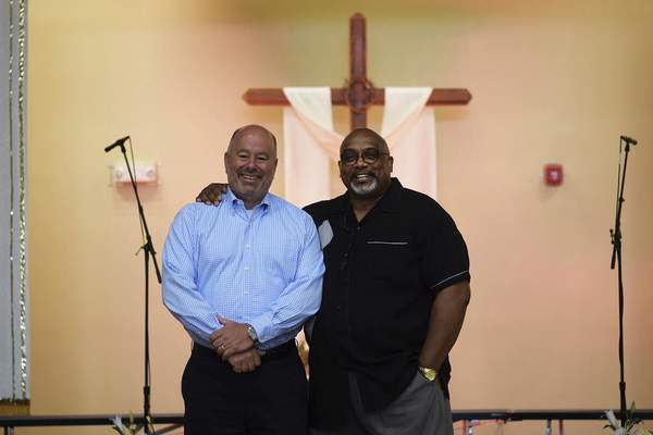 Pastors Mick Baker, left, and Luther Whitfield are working together again, this time at New Covenant Worship Center on East Paulding Road.