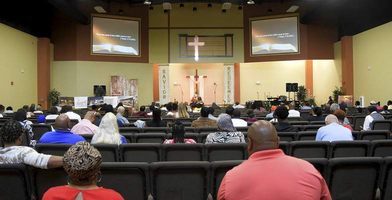 Katie Fyfe | The Journal Gazette The inside of New Covenant Worship Center on Sunday, July 7th, 2019.