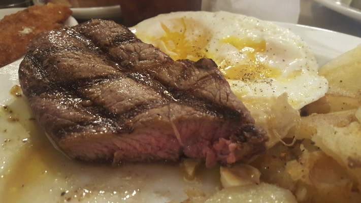 The steak and eggs breakfast from Hall's Original Drive-In on Bluffton Road.