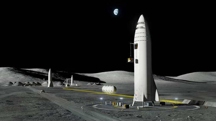 FILE - This artist's rendering made available by Elon Musk on Friday, Sept. 29, 2017 shows SpaceX's mega-rocket design on the Earth's moon. (SpaceX via AP, File)