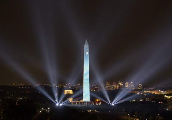 In this photo provided by NASA, the 50th anniversary of the Apollo 11 mission is celebrated in a 17-minute show,