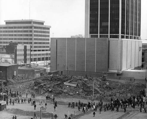 Jan. 13, 1974: The Hotel Van Orman was demolished at Harrison and Berry streets. (Journal Gazette file)