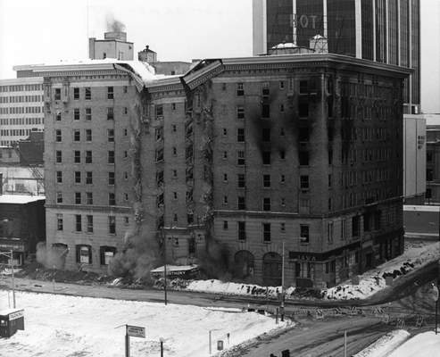 Jan. 13, 1974: The Hotel Van Orman was demolished at Harrison and Berry streets.