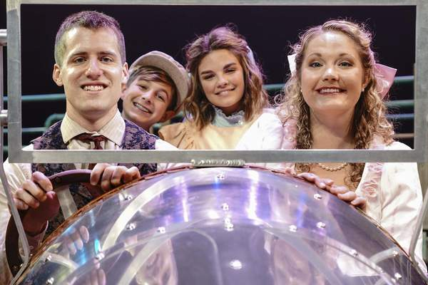 Mike Moore | The Journal Gazette  Left, Conner Johnson as Caractacus Potts, Brenner Newsom as Jeremy Potts, Renaé Rogers as Jemima Potts, and Cassandra Petrie as Truly Scrumptious in the Fort Wayne Civic Theatre's production of Chitty Chitty Bang Bang.