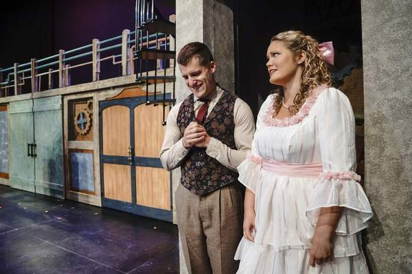 Mike Moore | The Journal Gazette  Conner Johnson as Caractacus Potts and Cassandra Petrie as Truly Scrumptious in the Fort Wayne Civic Theatre's production of Chitty Chitty Bang Bang.