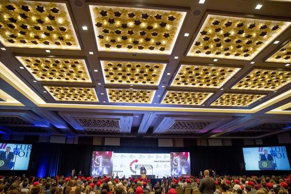 President Donald Trump speaks at Turning Point USA Teen Student Action Summit at the Marriott Marquis in Washington, Tuesday, July 23, 2019. (AP Photo/Andrew Harnik)
