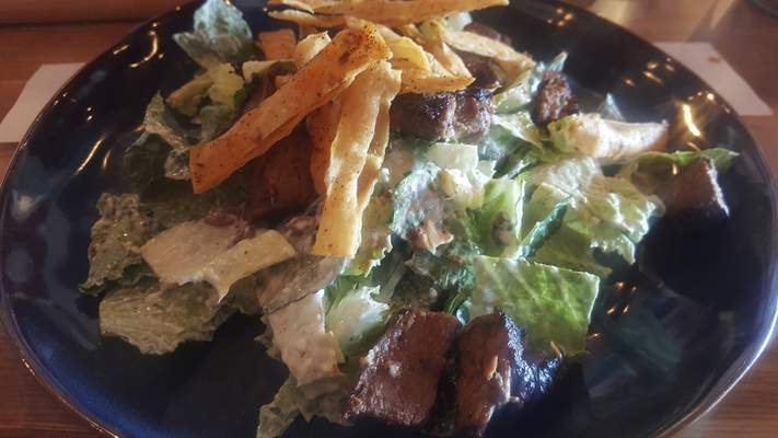 Mexican Cesar Salad with steak from Solbird Kitchen on Dupont Road.
