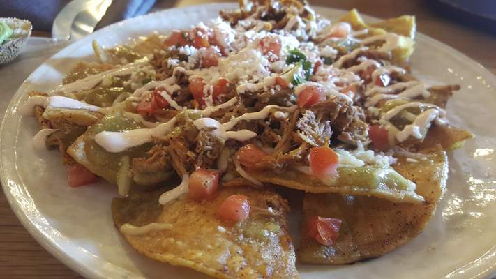 Chilaquiles with pork from Solbird Kitchen on Dupont Road.