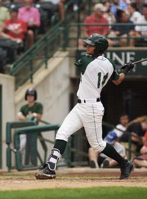 Katie Fyfe | The Journal Gazette  The TinCaps' Justin Lopez hit his ninth home run of the season, a team-high in Fort Wayne's 14-7 loss to the Dayton Dragons tonight.