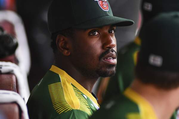 TinCaps center fielder Dwanya Williams-Sutton has been hit by a Midwest League-leading 19 times heading into Monday's game.