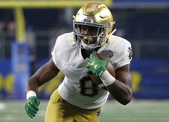 Associated Press Notre Dame running back Jafar Armstrong showed potential last year, averaging 5.3 yards per carry.