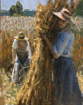 """Fred Doloresco won best of show for his painting, """"Harvest,"""" which is part of the Ventures in Creativity exhibit at the University of Saint Francis' Rolland Art Center."""