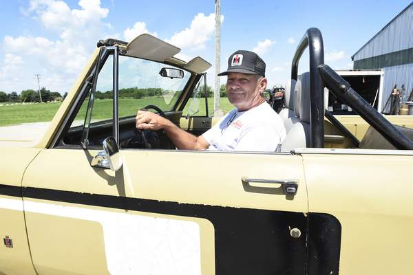 Rachel Von Stroup | The Journal Gazette Sam Elliot of Roanoke will bring his off-road 1977 Midas edition Scout and five other vehicles to the first Harvester Homecoming on Saturday at Scout Park Conference Center on Meyer Road.