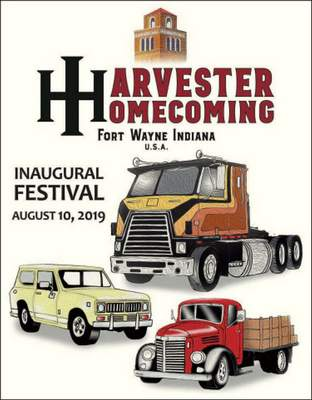 Journal Gazette artist Gregg Bender's Harvester Homecoming poster design incorporates three classic International Harvester trucks – a 1940s KB model and two strongly linked to the Fort Wayne Truck Works, a Transtar Eagle Brougham cabover semi tractor and a legendary Scout II. The first four signed-and-numbered prints of the image fetched more than $1,100 for the non-profit in an online auction; additional limited editions are being auctioned now and smaller versions of the poster will be available at the event.