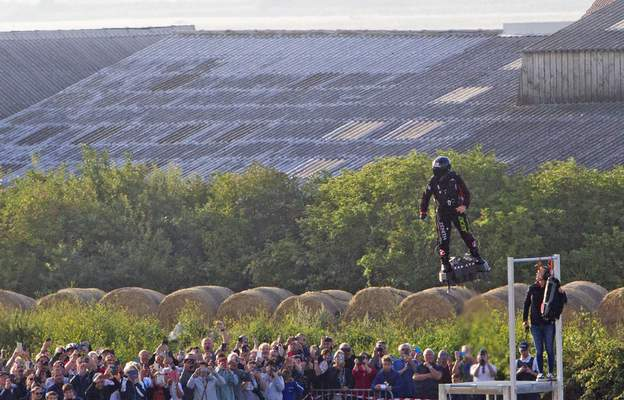 Associated Press Franky Zapata, a 40-year-old inventor, takes to the air on his hoverboardin northern France in  his attempt to cross the channel.