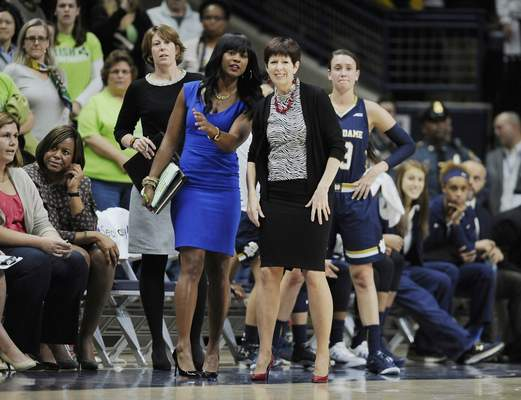 FILE - In this Dec. 5, 2015, file photo, Notre Dame head coach Muffet McGraw, right, watches play with associate coach Niele Ivey, left, during the first half of an NCAA college basketball game in Storrs, Conn. The Memphis Grizzlies announced Monday, Aug. 5, 2019, that they have hired former Notre Dame women's associate head coach Niele Ivey among the new assistants for coach Taylor Jenkins. (AP Photo/Jessica Hill, File)