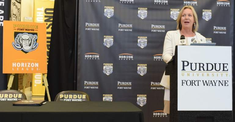 Purdue Fort Wayne Athletic Director Kelley Hartley Hutton speaks at Tuesday's announcement that the university  will join the Horizon League starting in the 2020-21 season. (Photos by Elizabeth Wyman | The Journal Gazette)