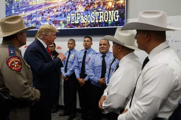 Associated Press President Donald Trump visits the joint operations center in El Paso, Texas, on Wednesday to meet with first responders after Saturday's mass shooting that left 22 dead.