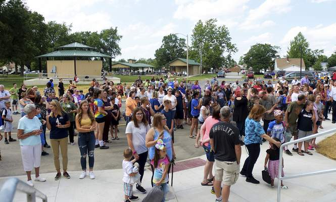 Crowds gather for ribbon-cutting ceremony for New Haven Intermediate School on Thursday. (Katie Fyfe | The Journal Gazette)