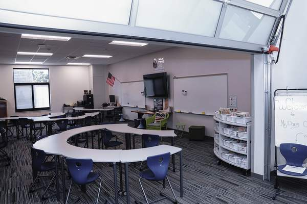Garage doors allow for more creative and inclusive instruction in newly renovated classrooms at Lafayette Meadows Elementary School. (Mike Moore | The Journal Gazette)
