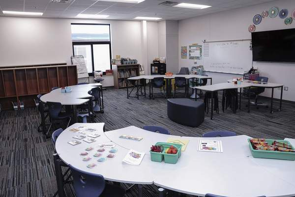 A classroom recently added to Lafayette Meadows Elementary School stands ready for school during a media walkthrough on Thursday. (Mike Moore | The Journal Gazette)
