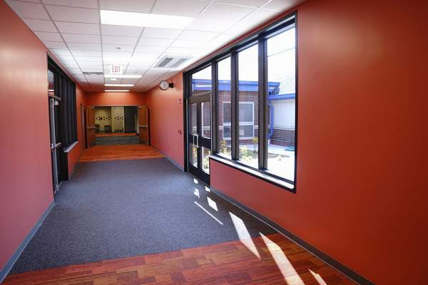 Vibrant colorful hallways were recently added to Lafayette Meadows Elementary School. (Mike Moore | The Journal Gazette)