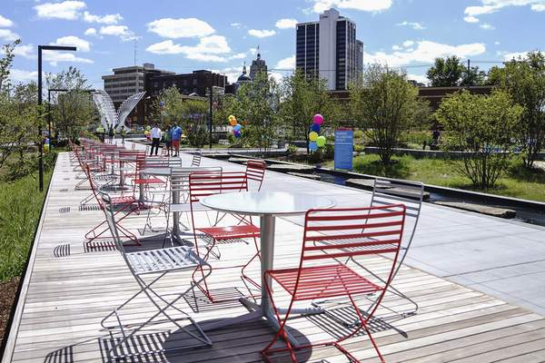 Tables with a view of downtown from Promenade Park on Friday.