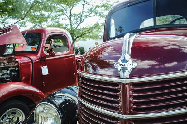 International trucks from all over the country arrive at the Scout Park Conference Center on Meyer Road on Saturday for the Harvester Homecoming.