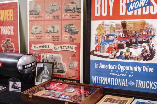 MIke Moore   The Journal Gazette  Memorabilia is on display at the Harvester Homecoming at the Scout Park Conference Center on Meyer Road on Saturday.