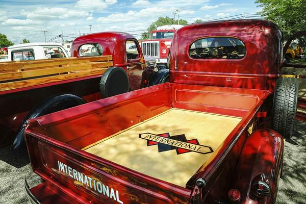 This custom-built wood truck bed on a 1940 International D-2 is owned by Dave Bradfield of Fort Wayne.
