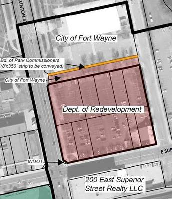The narrow strip marks parks property north of Duck Street. (Courtesy)
