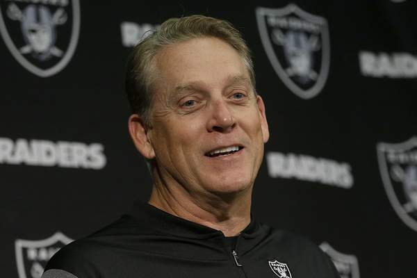 """FILE - In this Nov. 26, 2017, file photo, then-Oakland Raiders head coach Jack Del Rio speaks at a news conference after an NFL football game against the Denver Broncos in Oakland, Calif. Jack Del Rio never shied away from giving his opinion as a player and a coach. He isn't about to change his approach as an analyst. ESPN announced on Thursday, Aug. 15, 2019, that it has hired the former Jacksonville Jaguars and Oakland Raiders coach as an analyst. His first appearance will be Friday on """"NFL Live"""".(AP Photo/Ben Margot, File)"""