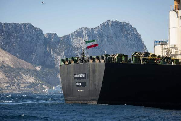 Associated Press The Iran-flagged Adrian Darya 1 supertankersets sail in the watersof the British territory Gibraltaron Sunday, heading to an unknown destination after being detained for a month.