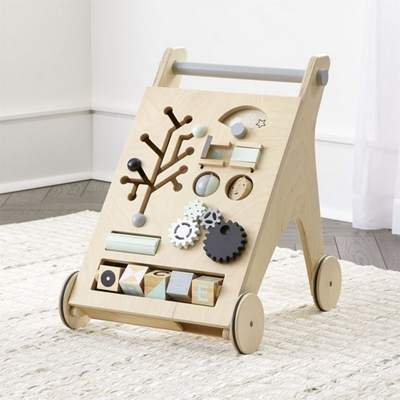 Recalled Crate and Barrel Activity Push Walker with child developmental activities embedded in the face