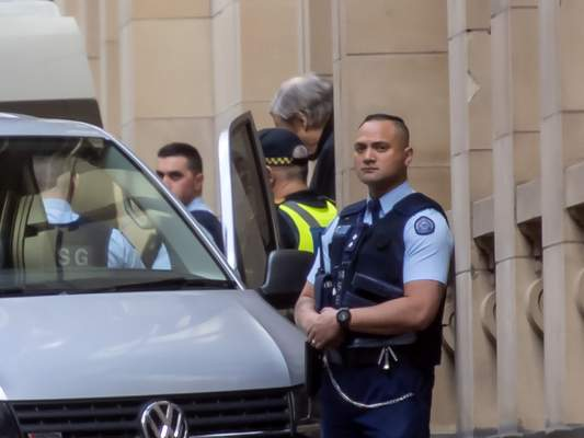 Cardinal George Pell leaves the Supreme Court in Melbourne, Australia, Wednesday, Aug. 21, 2019. (AP Photo/Andy Brownbill)
