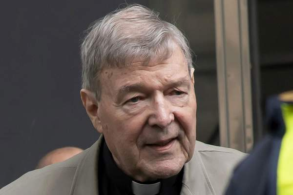 FILE - In this Feb. 26, 2019, file photo, Cardinal George Pell arrives at the County Court in Melbourne, Australia. (AP Photo/Andy Brownbill, File)